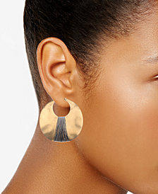 Kenneth Cole New York Earrings, Gold-Tone Shell Drop Hoop