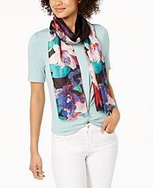 Calvin Klein Painted Flower Silk Scarf