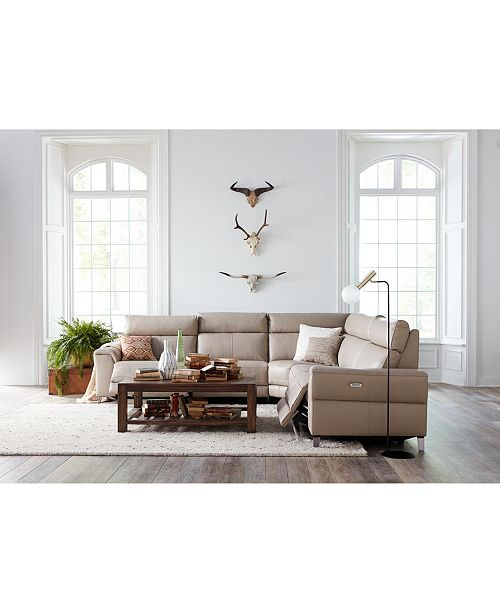 Leather Sectional Sofa With 3 Power Recliners: Furniture Raymere 6-Pc. Leather Sectional Sofa With 3