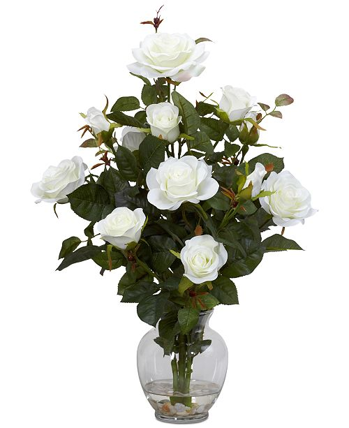 Nearly Natural Rose Artificial Flower Arrangement in Vase