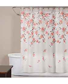"Coral Garden Textured Floral-Print 70"" x 72"" Shower Curtain"