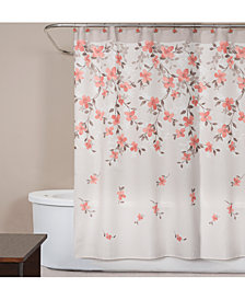 "Saturday Knight Coral Garden Textured Floral-Print 70"" x 72"" Shower Curtain"