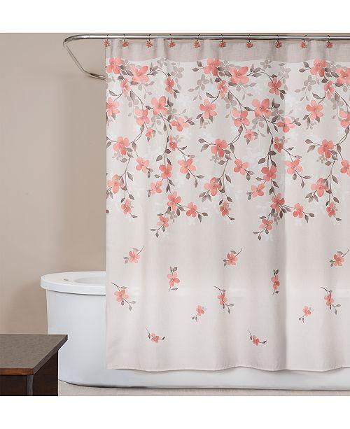 Saturday Knight Coral Garden Textured Floral Print 70 X 72 Shower