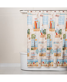 "Saturday Knight Beach Time 70"" x 72"" Graphic-Print Shower Curtain"