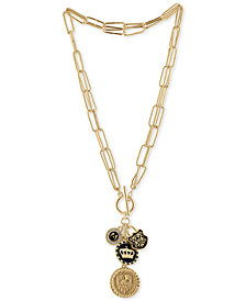 RACHEL Rachel Roy Gold-Tone Regal Multi-Charm Adjustable Pendant Necklace