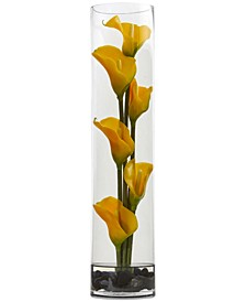 "18"" Mini Calla Lily Artificial Arrangement in Cylinder Glass Vase"