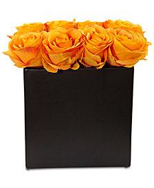 Nearly Natural Orange Rose Artificial Arrangement in Black Vase