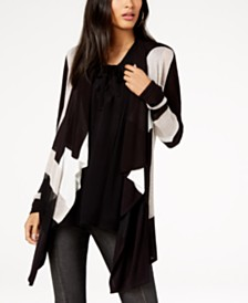 I.N.C. Petite Draped Colorblocked Cardigan, Created for Macy's