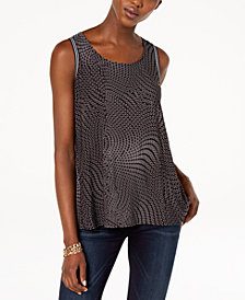 I.N.C. Mixed-Print Split-Back Top, Created for Macy's