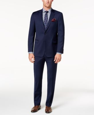Men's Modern-Fit TH Flex Stretch Navy Twill Suit Pants