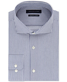 Tommy Hilfiger Men's Fitted Stretch Flex Collar Navy Stripe Dress Shirt