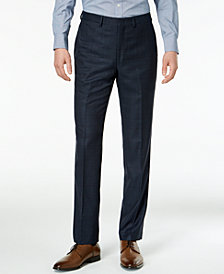 DKNY Men's Slim-Fit Blue/Tan Windowpane Suit Pants