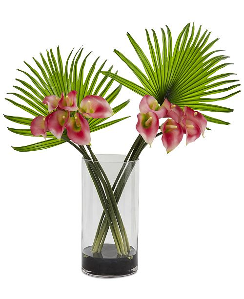 Nearly Natural Calla Lily and Fan Palm Artificial Arrangement in Cylinder Glass Vase