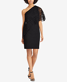 Lauren Ralph Lauren Lace One-Shoulder Dress