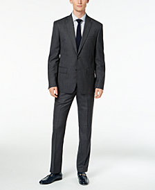 DKNY Men's Slim-Fit Gray/Blue Plaid Suit Separates