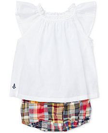 Polo Ralph Lauren Baby Girls Cotton Flutter-Sleeve Top & Madras Bloomer Set