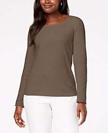 Karen Scott Cotton Scoop-Neck Top, Created for Macy's