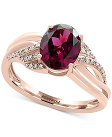 EFFY® Rhodolite Garnet (2-1/3 ct. t.w.) & Diamond (1/8 ct. t.w.) Ring in 14k Rose Gold