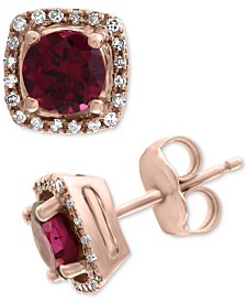EFFY® Rhodolite (1-1/5 ct. t.w.) & Diamond (1/8 ct. t.w.) Stud Earrings in 14k Rose Gold