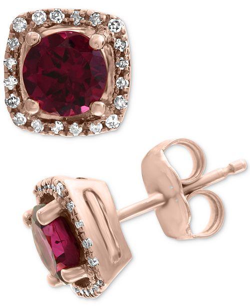 EFFY Collection EFFY® Rhodolite (1-1/5 ct. t.w.) & Diamond (1/8 ct. t.w.) Stud Earrings in 14k Rose Gold