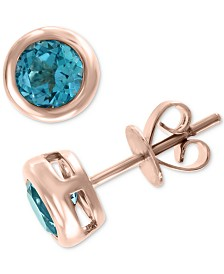 EFFY® Blue Topaz Bezel Stud Earrings (1-1/5 ct. t.w.) in 14k Rose Gold