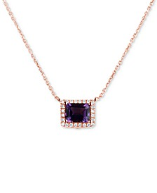 """Amethyst (1-5/8 ct. t.w.) & Diamond (1/6 ct. t.w.) 16"""" Pendant Necklace in 14k Rose Gold"""