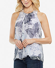 Vince Camuto Print Top with Keyhole Back