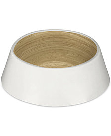 TarHong Gloss White & Wood-Look Medium Pet Bowl