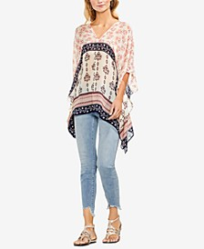 Printed Asymmetrical Poncho Top