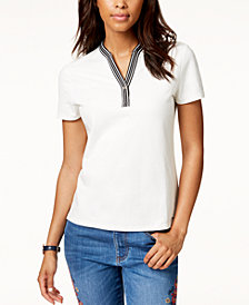 Tommy Hilfiger Contrast-Trim Short-Sleeve Top, Created for Macy's