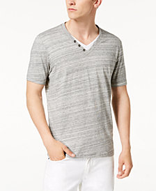 I.N.C. Men's Space-Dyed Split-Neck Shirt, Created for Macy's