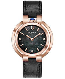 Bulova Women's Rubaiyat Diamond-Accent Black Leather Strap Watch 35mm