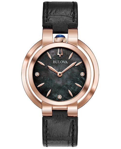 19b510290 ... Bulova Women's Rubaiyat Diamond-Accent Black Leather Strap Watch ...