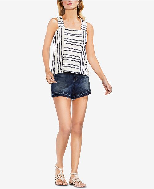 Striped Fringe Camuto Top Iris Vince Black zYpq5x