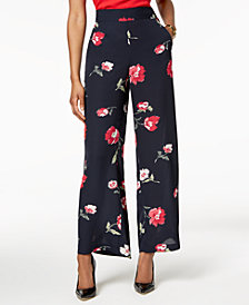 Nine West Floral-Print Wide-Leg Pants
