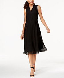 Anne Klein Drawstring A-Line Dress
