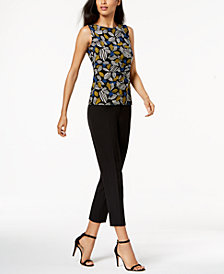 Anne Klein Side-Twist Top & Slim-Fit Pants