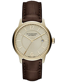 Burberry Men's Automatic The Classic Round Brown Alligator Leather Strap Watch 40mm