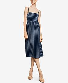 BCBGMAXAZRIA Striped Twist-Back Cutout Dress