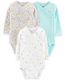 Carter's Baby Girls 3-Pc. Kimono-Style Cotton Bodysuits