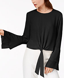 Self Esteem Juniors' Bell-Sleeve Tie-Front Top
