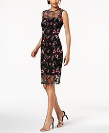 Calvin Klein Floral-Embroidered Illusion Dress, Regular & Petite