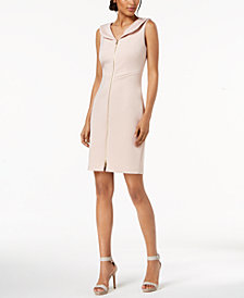 Calvin Klein Petite Portrait-Collar Scuba Sheath Dress