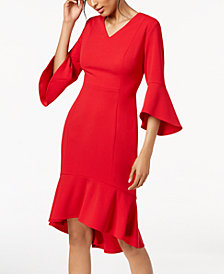 Calvin Klein High-Low Flounce Sheath Dress