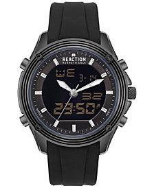 Kenneth Cole New York Men's Analog-Digital Reaction Black Silicone Strap Watch 46mm