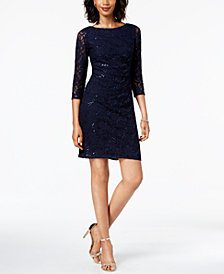 Jessica Howard Petite Lace Sequin Sheath Dress