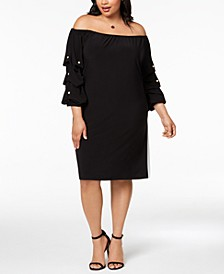Plus Size Embellished Off-The-Shoulder Dress