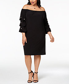 MSK Plus Size Embellished Off-The-Shoulder Dress