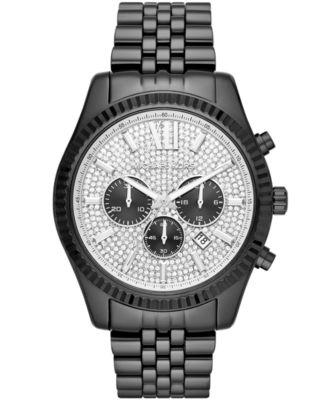 Men's Chronograph Lexington Black Stainless Steel Bracelet Watch 45x54mm