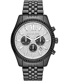 Men's Chronograph Lexington Black Stainless Steel Bracelet Watch 45x54mm